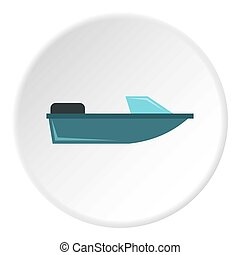 Sports powerboat icon, flat style