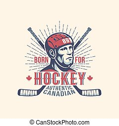Sports print mascot with hockey player and sticks in vintage style