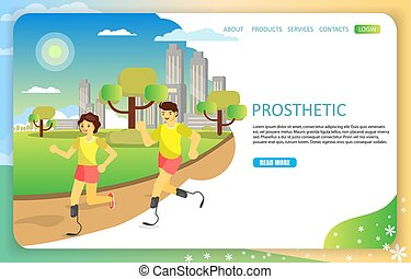 Sports prosthetic landing page website vector template -...