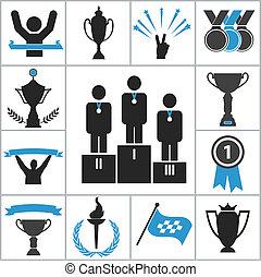 sports, récompense, icônes
