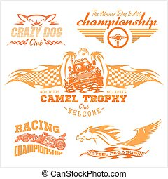 Sports racing emblem - vector set