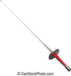 Sports equipment fencer - sports rapier. Vector illustration.