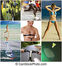 Sports - Recreation and sport collage made from nine ...