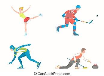 sports, rink., ensemble, glace, divers, hiver