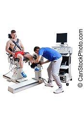 Sports Scientist doing Performance Assessment. Modern Technology