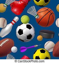 Sports seamless pattern with a dark blue background as a repeat repetition wallpaper design with football basketball hockey golf soccer bowling tennis badminton football baseball darts and boxing equipment.