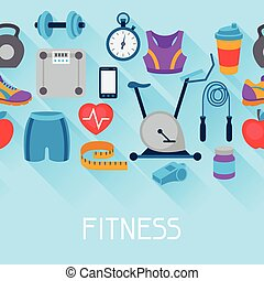 Sports seamless pattern with fitness icons in flat style.