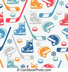 Sports seamless pattern with hockey equipment flat icons.