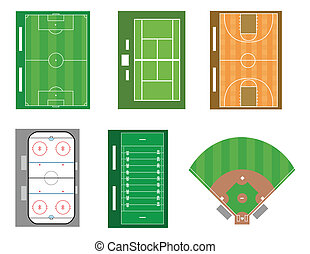 Sports - Set of sport fields and courts. Vector file also ...