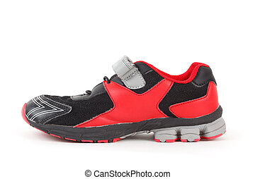 Sports shoes, black and red colors on white background. Isolated.