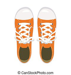 Sports shoes, gym shoes, keds, orange colors, for sports and in daily life, fashion, vector, illustration, isolated