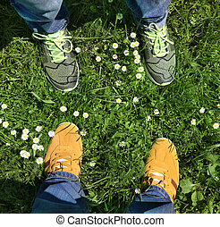 sports shoes on green grass