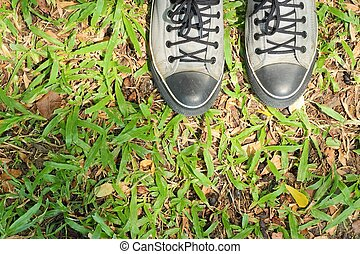 Sports shoes sneakers on fresh green grass