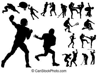 Sports - Silhouette vector illustration of several sportsmen