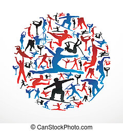 sports, silhouettes, cercle