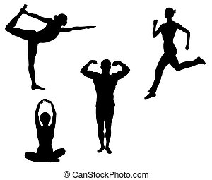 sports, silhouettes