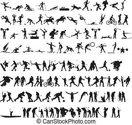 sports, silhouettes, vecteur