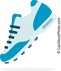 Sports sneaker on lacing flat isolated