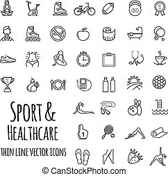 Sports, sports equipment, healthy lifestyle icons set