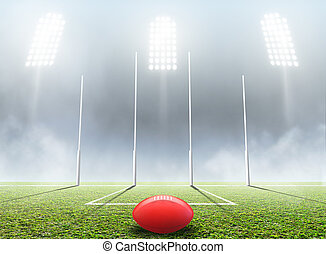 Sports Stadium And Goal Posts - An aussie rules football...