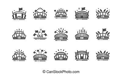 Sports stadium icons. Ole chant, arena football, ...