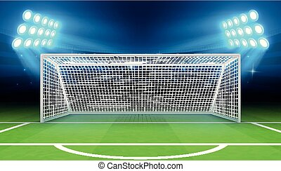 Sports stadium with soccer goal vector illustration