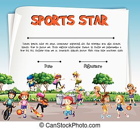 Sports star certificate template with kids playing sports