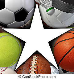 Sports Star - Sports star symbol with a group of sport balls...