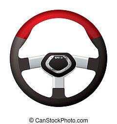 Sports steering wheel - Red and black sports steering wheel...