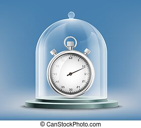 Sports stopwatch or watch under a glass dome.