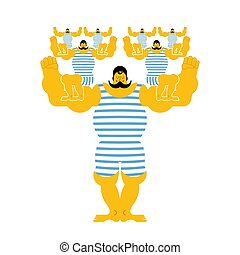 Sports strong family dynasty. Retro strongman and children. Vintage Sportsman. Circus bodybuilder. man of musls in poloat clothes. Vector illustration