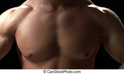 Sports Stubs - Extreme close up of chest muscles during...