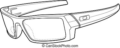 Sports Sun Glasses Outline - Black and white illustration of...