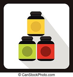 Sports supplements icon in flat style with long shadow. Add to food symbol vector illustration