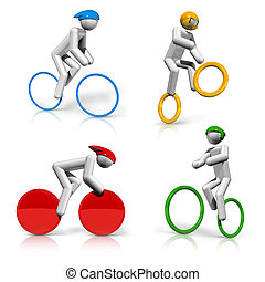 sports symbols icons series 5 on 9, cycling, mountain bike,...