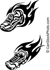Trainers with tribal flames as a sports tattoo or mascot
