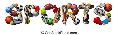 Sports text made with sport objects and fitness equipment with a football basketball baseball soccer tennis and golf ball and hockey puck as recreation and leisure activity for team and individual playing with 3D illustration elements.