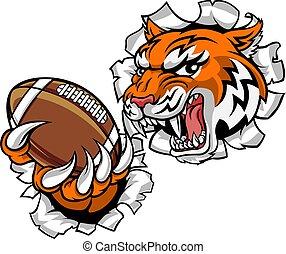 sports, tigre, mascotte, joueur, football, américain
