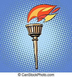 sports torch, fire torchbearer pop art retro style. Summer...