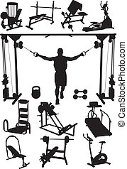 Perfectly executed image of silhouettes of sports training apparatus