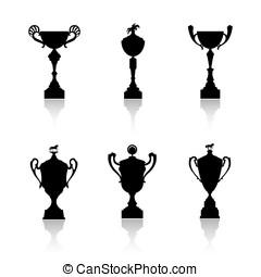 Sports trophies - Equestrian sports trophies vector set