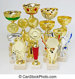 sports trophies on a white background