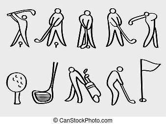 sports, vecteur, golf, dessin animé, icônes
