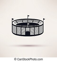 sports, vecteur, stade, icône