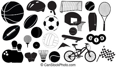 sports vector - silhouette balls and sports