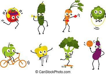 Sports vegetables set of various cute cartoon characters doing exercises and having fun isolated on white background.