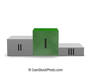 Sports victory podium with reflective smoky green cube for ...