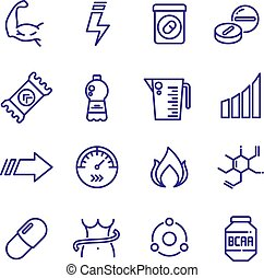 Sports vitamins and food supplements thin line vector icons....