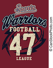 Sports Warriors Football league on a red background.