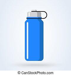 Sports water bottle icon. Blue plastic bottle in flat cartoon style. vector illustration